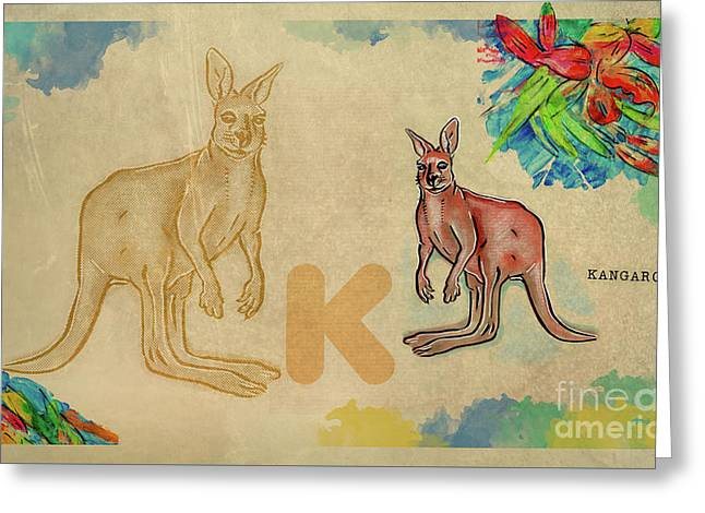 Greeting Card featuring the drawing English Alphabet , Kangaroo by Ariadna De Raadt