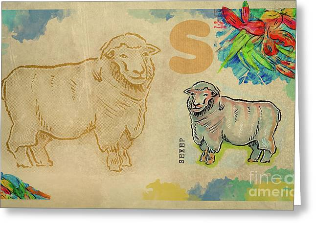Greeting Card featuring the drawing English Alphabet , Sheep  by Ariadna De Raadt