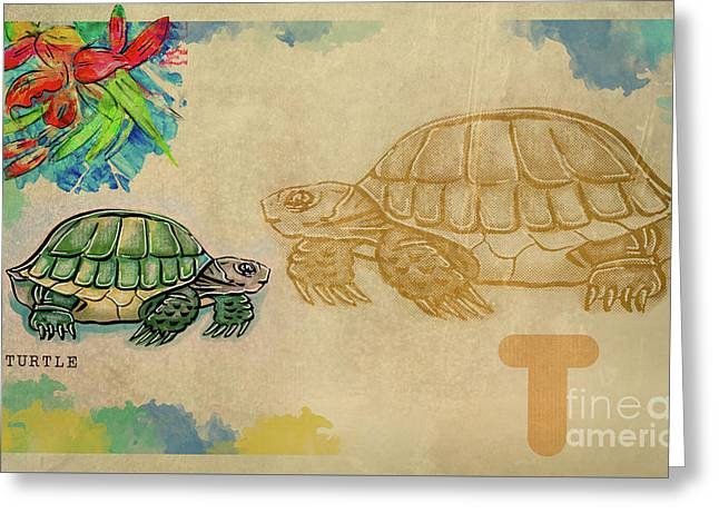 Greeting Card featuring the drawing English Alphabet , Turtle  by Ariadna De Raadt