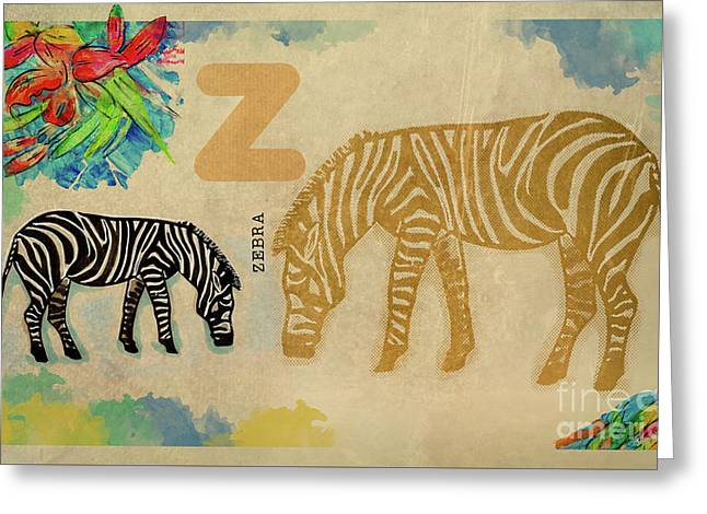 Greeting Card featuring the drawing English Alphabet , Zebra by Ariadna De Raadt
