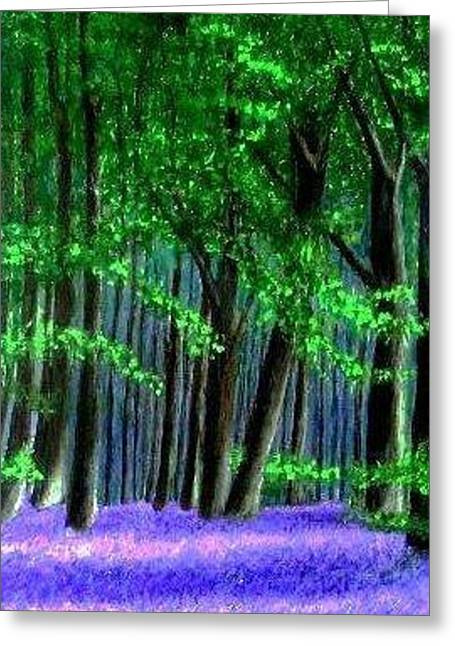 English Bluebells Wood Greeting Card