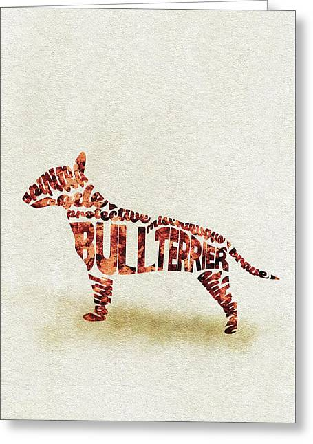 English Bull Terrier Watercolor Painting / Typographic Art Greeting Card