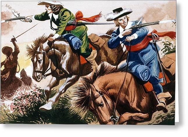 English Civil War Battle Scene Greeting Card