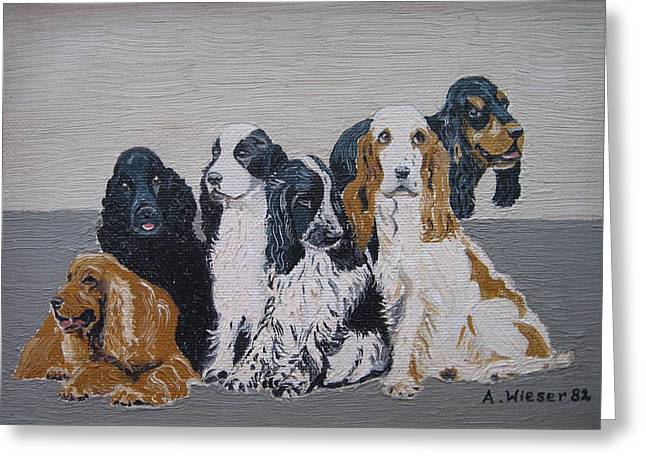 English Cocker Spaniel Family Greeting Card by Antje Wieser