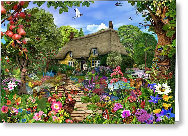 English Cottage Garden Greeting Card by Gerald Newton
