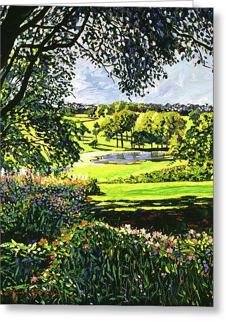English Country Pond Greeting Card by David Lloyd Glover