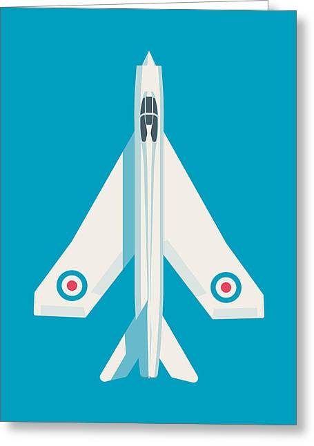 English Electric Lightning Fighter Jet Aircraft - Blue Greeting Card by Ivan Krpan
