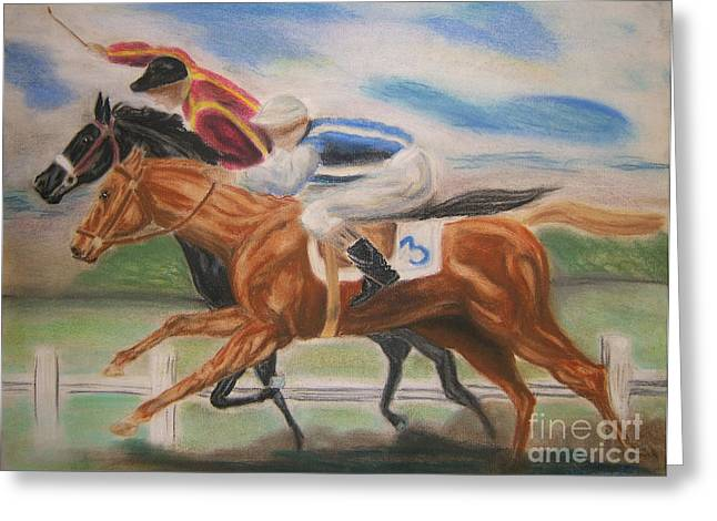 English Horse Race Greeting Card by Nancy Rucker