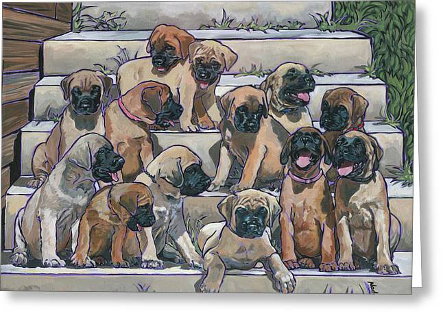 Greeting Card featuring the painting English Mastiff Puppies by Nadi Spencer