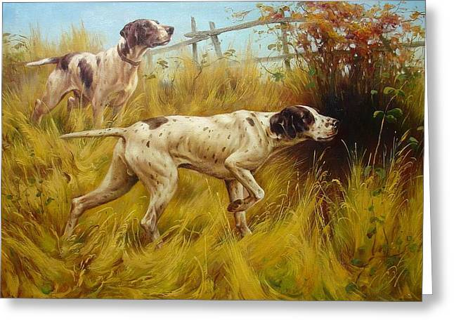 English Pointers Greeting Card by Lucia Amitra