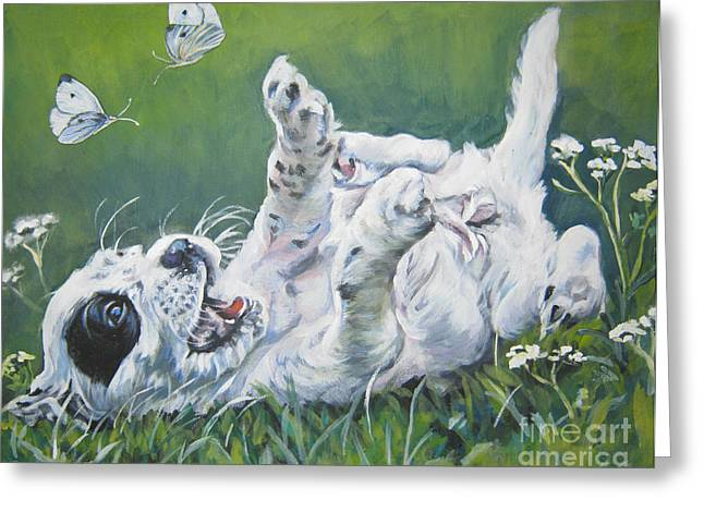 English Setter Puppy And Butterflies Greeting Card