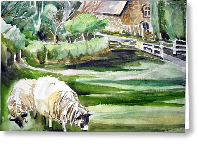 English Sheep Greeting Card by Mindy Newman