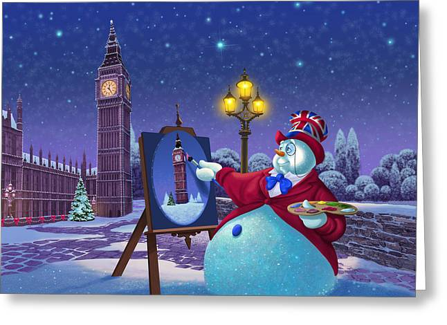 English Snowman Greeting Card by Michael Humphries