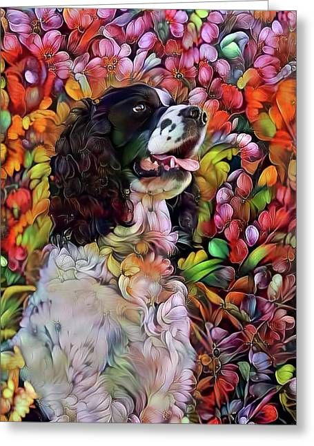English Springer Spaniel In The Garden Greeting Card