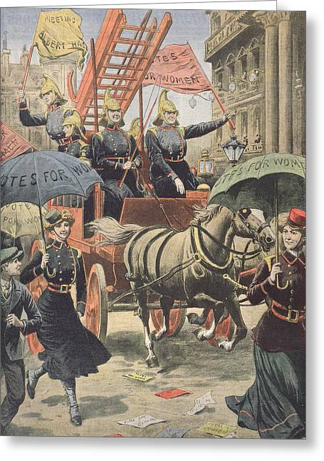 English Suffragettes Dressed As Firemen Greeting Card