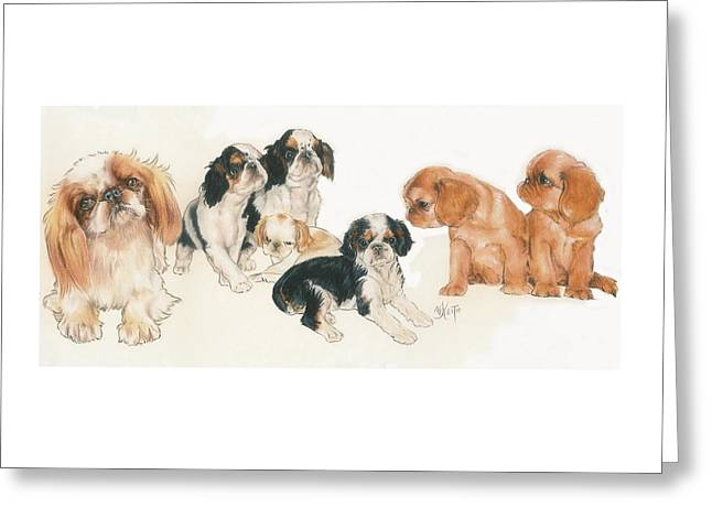 English Toy Spaniel Puppies Greeting Card by Barbara Keith