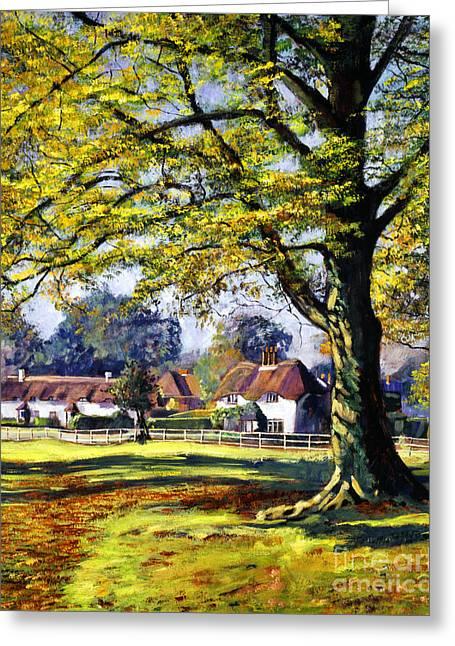 English Village Greeting Card by David Lloyd Glover