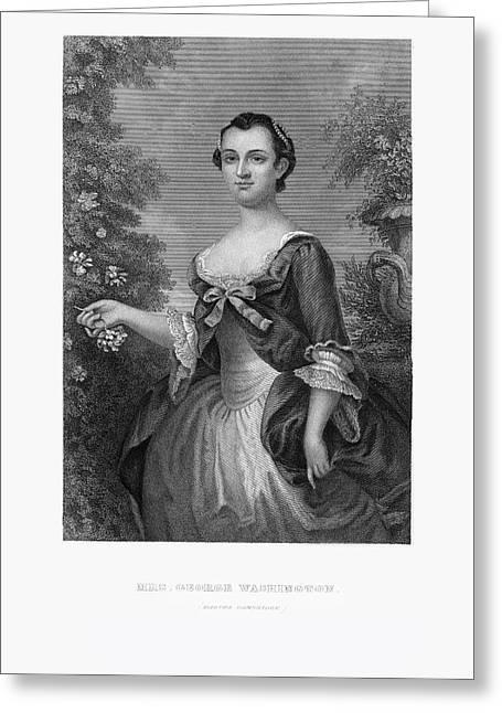 Engraved Portrait Of Mrs. George Washington, Martha Dandridge, Circa 1780 Greeting Card