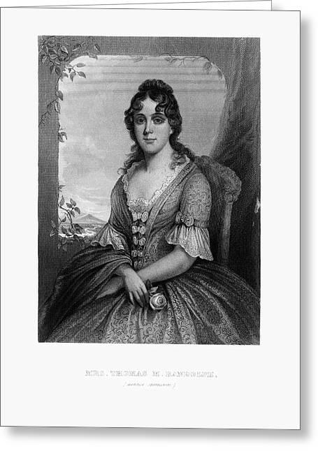 Engraved Portrait Of Mrs. Thomas Randolph, Martha Jefferson, Circa 1780 Greeting Card by Peacock Graphics