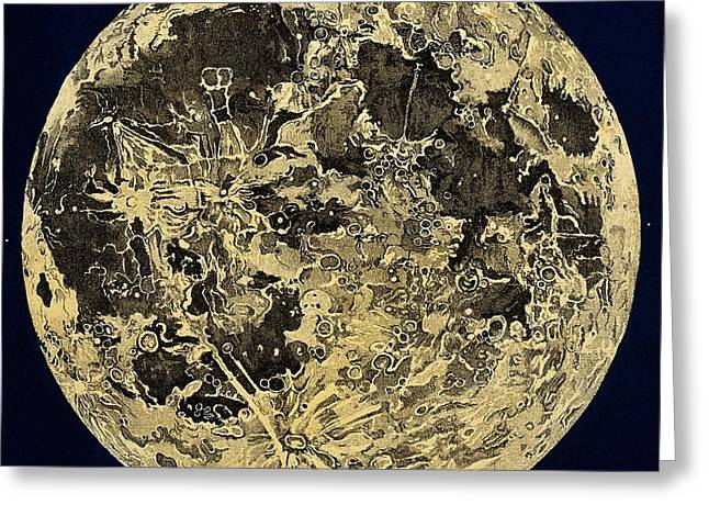 Engraving Of Moon Surface, C. 1846 Greeting Card