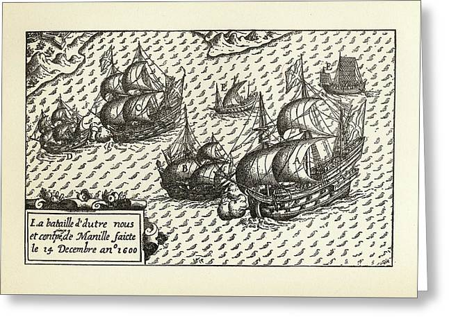 Engraving Of Van Noort Landing In Manila Bay, Philippines, 1600 Greeting Card by Peacock Graphics