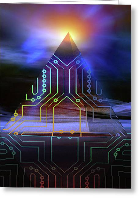 Greeting Card featuring the digital art Enigma Of Ancient Technology by Shadowlea Is