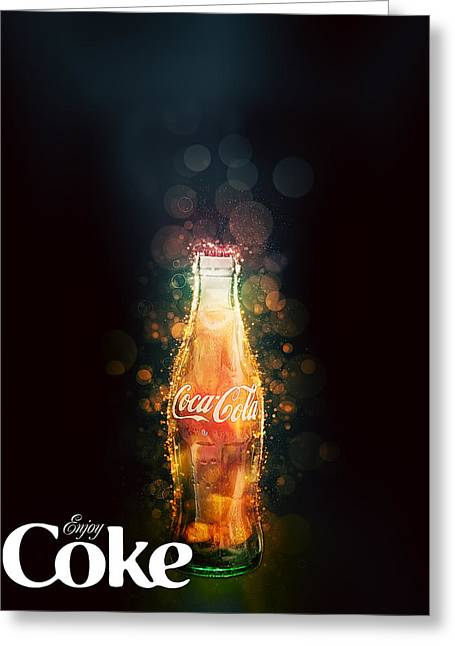 Enjoy Coca-cola With Bubbles Greeting Card
