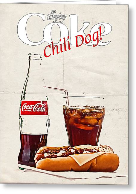 Enjoy Coca-cola With Chili Dog Greeting Card