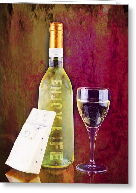 Enjoy Life White Wine Glass Greeting Card by Tommytechno Sweden