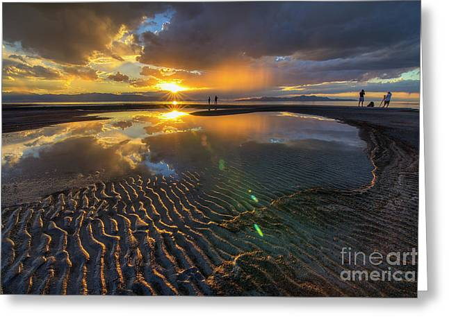 Enjoying A Sunset At The Great Salt Lake Greeting Card by Spencer Baugh