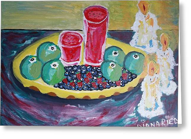 Enjoying Fruit By Candle Light Greeting Card by Diana Riedling