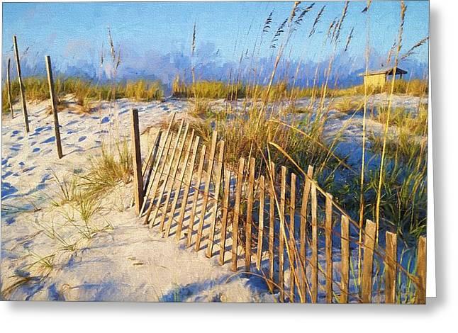 Enjoying Navarre Beach Greeting Card by JC Findley