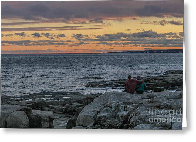Enjoying The Beauty Of Maine Greeting Card by Joe Faragalli