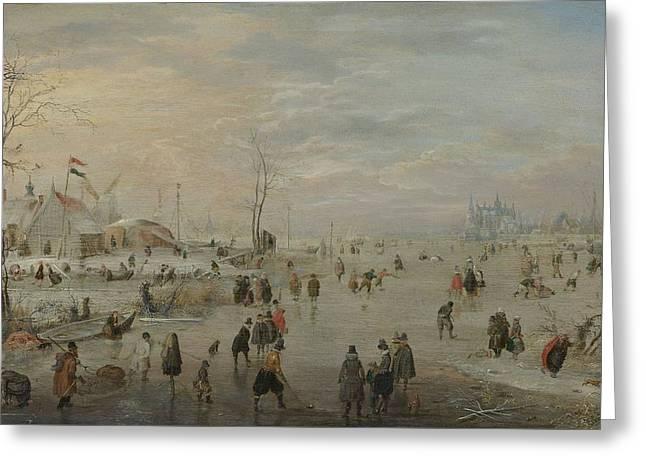 Enjoying The Ice, 1615 Greeting Card