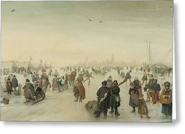 Enjoying The Ice Near A Town, 1620 Greeting Card