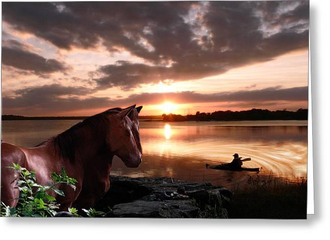 Enjoying The Sunset Greeting Card