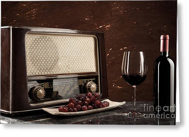 Enjoying Wine And Listening To The Radio Greeting Card by Wolfgang Steiner