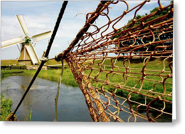 Greeting Card featuring the photograph Enkhuizen Windmill And Nets by KG Thienemann