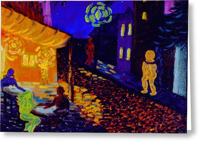 Enlightened Beings At Night Greeting Card by Lisa Elizabeth