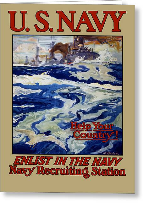 Enlist In The Navy - Help Your Country Greeting Card by War Is Hell Store