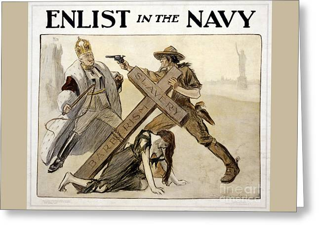 Enlist In The Navy Vintage Wwi Poster Restored Greeting Card