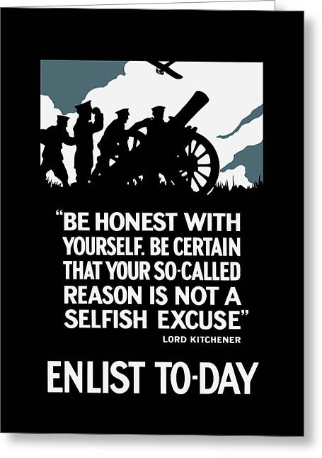 Enlist To-day - Lord Kitchener  Greeting Card by War Is Hell Store