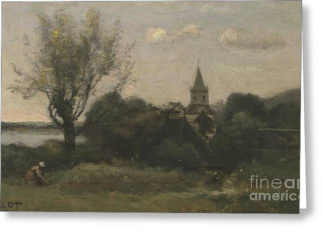 Ennery Near Auvers Greeting Card by Jean Baptiste Camille Corot