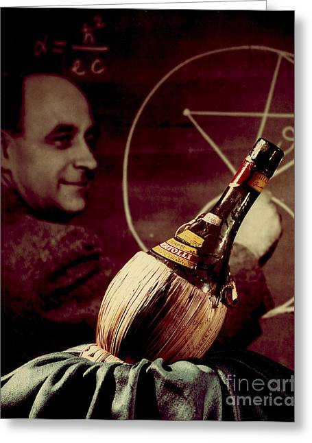 Enrico Fermi And Cp-1 Chianti Bottle Greeting Card by Science Source