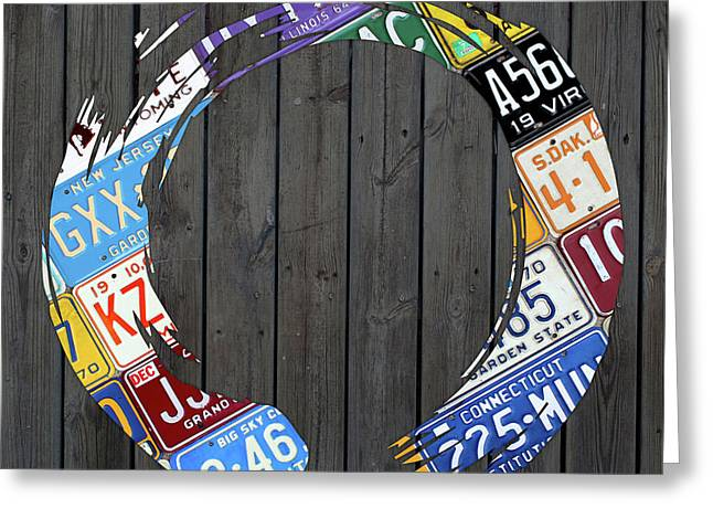 Enso Art Made From Vintage License Plates On Wood Boards Greeting Card by Design Turnpike