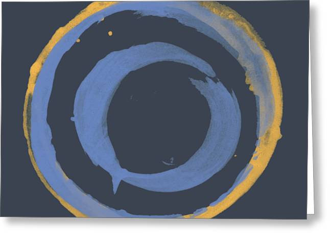 Greeting Card featuring the painting Enso T Blue Orange by Julie Niemela