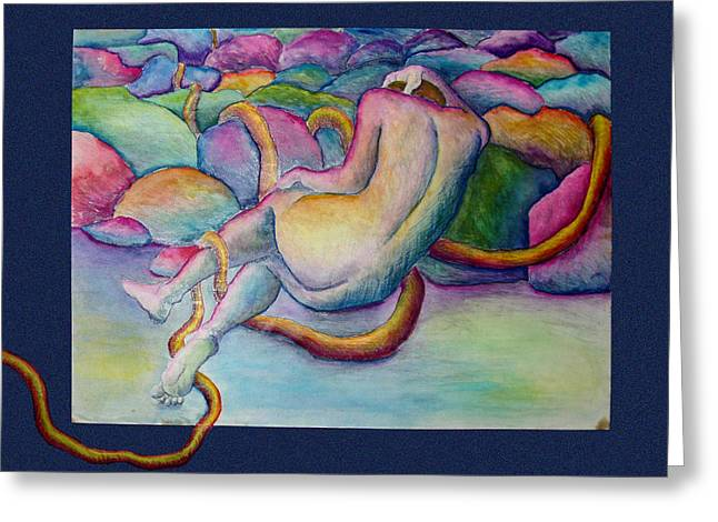 Entangled Figure With Rocks Greeting Card by Nancy Mueller