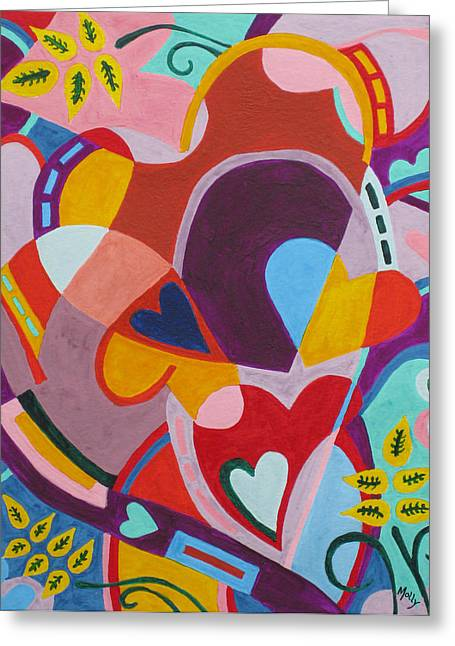Entangled Hearts Greeting Card by Molly Williams
