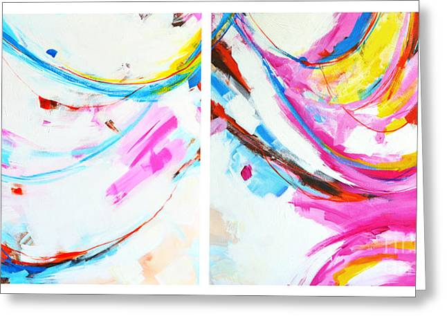 Entangled No. 8 - Diptych - Abstract Painting Greeting Card by Patricia Awapara