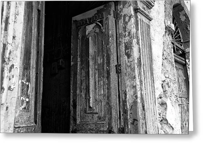Enter At Your Own Risk Mono Greeting Card by John Rizzuto